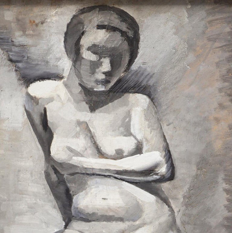 Cubist modern portrait of a young naked woman