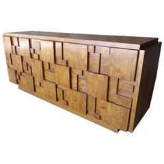 Cubist Nine-Drawer Walnut Chest by Lane Furniture Company, circa 1960s