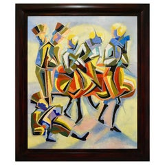 Cubist Oil Painting of Dancers and Musicians Serge Magnin, 1960, France