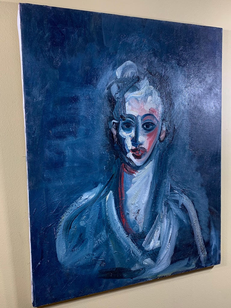 Exceptional oil painting on canvas of very intriguing subject of a man with great paint texture. Beautiful object of art for wall hanging. Frame is not included.