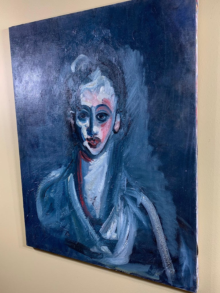 American Cubist Oil Painting on Canvas For Sale