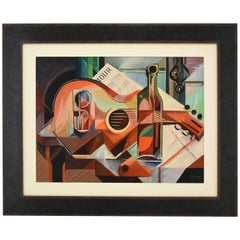 Cubist Oil Painting Still Life with Guitar Serge Magnin
