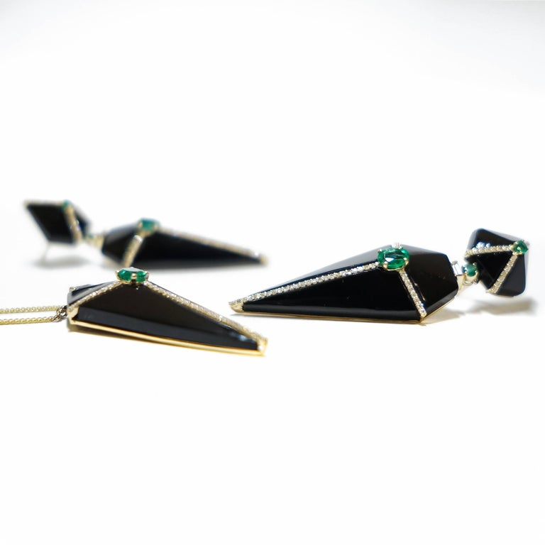 Contemporary Cubist Onyx Earrings with Emeralds and Diamonds For Sale