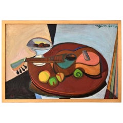 Cubist Painting Still Life with Fruit and Guitar, France, 1947