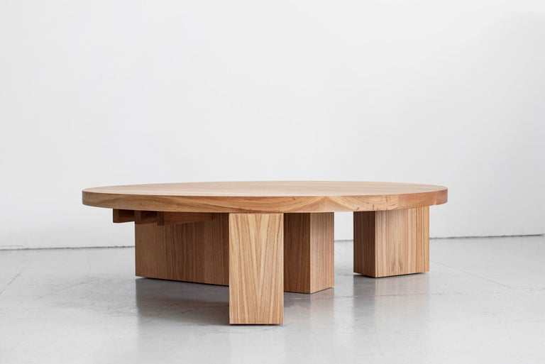 Oak Cubist Round Coffee Table by Orange For Sale