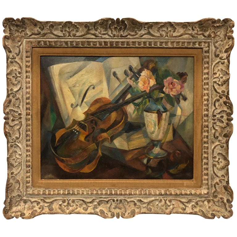 """Cubist Still Life """"Violin"""" by Agnes Weinrich, Signed, Dated 1922 For Sale"""