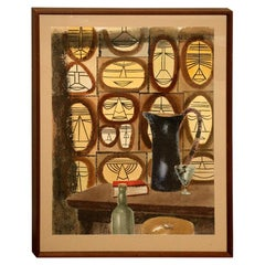 Cubist Still Life Water Color by William Henry Mid-Century Modern