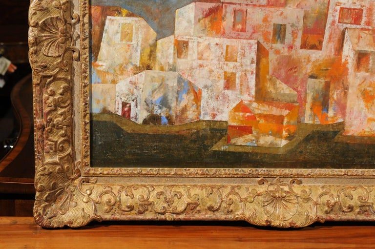 Cubist Style Oil on Canvas Painting Signed
