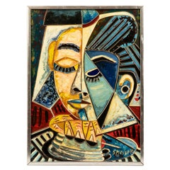 Cubist Style Painting on Board Signed S. Mesreh