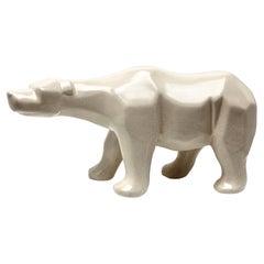 Cubist Style Polar Bear Whit a Crackle Glaze Ceramic Finish, Stamp L&V Ceram