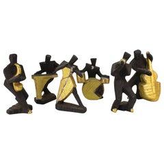 Cubist Style Postmodern Ceramic Jazz Sculptures