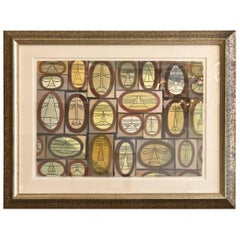 Cubist Watercolor by William Henry Mid-Century Modern Custom Framed