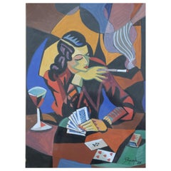 Cubist Watercolor, the Card Player, by Jozef Popczyk, 1926