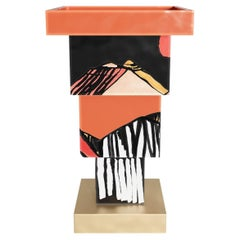 Cubistic Expression with Hand-Painted Holst Sculptural Vase, Handmade in Ceramic