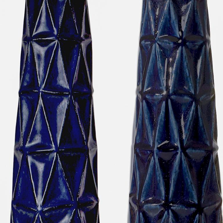 Cubistic Table Lamps with Faceted Reliefs Designed by Leon Galleto for Saxbo In Excellent Condition For Sale In New York, NY