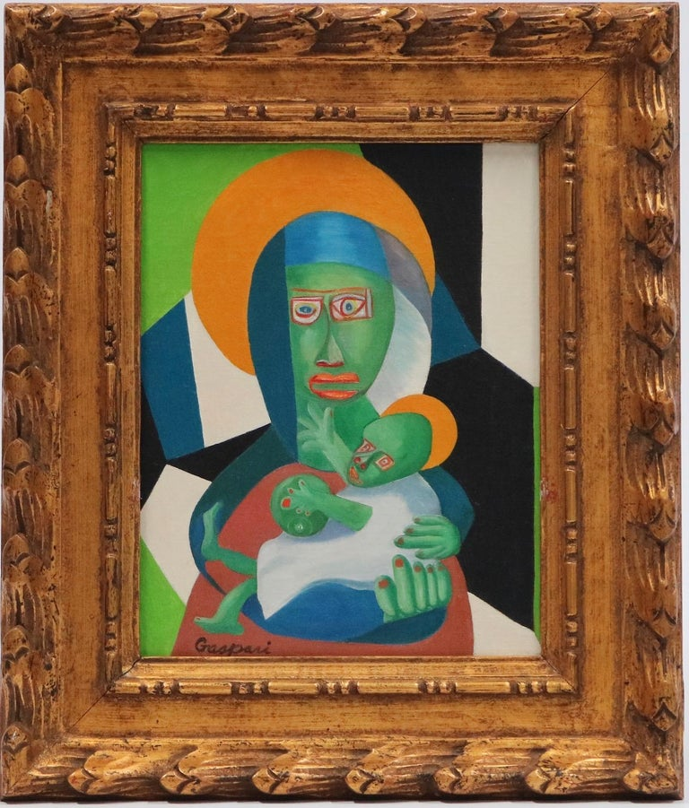 Cubist oil painting of the Madonna in giltwood frame. The figures are painted in bright shades of blue, green and orange. Signed in the bottom corner 'Gaspari.' Wear appropriate to age and use. The painting remains in very good condition. 
