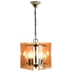 Cuboid Ceiling Center-Light with 4 Lamps Behind Bronzed Glass Panels