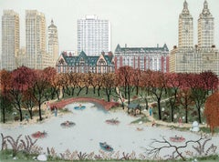 Etching - Central Park West, New York (hand-painted etching) - new