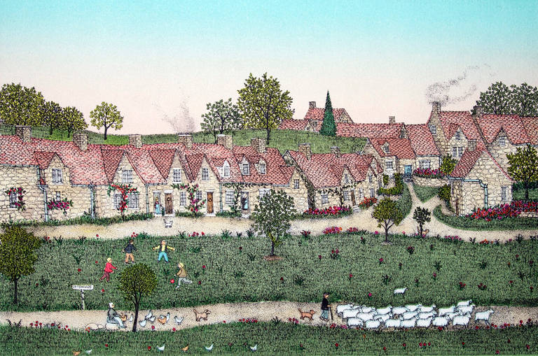 Cuca Romley Landscape Print - Etching - Cotswolds, England