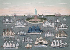 Hand colored etching - Operation Sail New York 1986