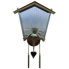 Cuckoo Clock Sconces Brass Midcentury Italian Design Gold Heart Bird House