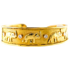 Cuff 18 Karat Gold Bracelet with Diamonds 0.40 Carat 30.9 Grams