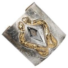 Cuff Bracelet 0.20Karat Diamonds 18 Karat Gold Plated Silver Modern Design Snake