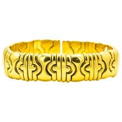 Cuff Bracelet 18 Karat Gold 80 Grams Made in Italy