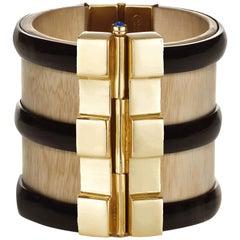 Cuff Bracelet Art Deco Gold Bespoke Horn Sapphire Emerald Ruby