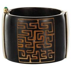 Cuff Bracelet Horn Emerald Ruby Sapphire