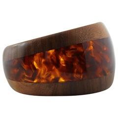 Cuff Bracelet in Wood and Brown Honey Tortoiseshell Methacrylate