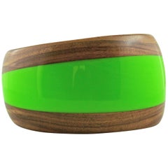 Cuff Bracelet in Wood Green Methacrylate