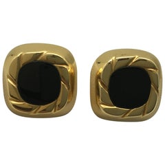 Cuff Links 18 Karat Yellow Gold and Black Onyx