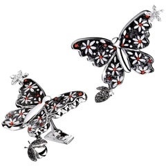 Cuffliks White Gold White Diamonds Black Diamonds Handdecorated with MicroMosaic