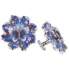 Cuffliks White Gold White Diamonds Sapphires Hand Decorated with Micro Mosaic