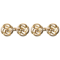 Cufflinks 14 Karat Gold Heavy Floral Design Double Sided Austrian, circa 1900