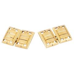 Cufflinks 18 Carat Gold in an Openwork Rectangular Design, English circa 1930