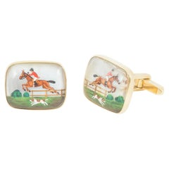 Cufflinks 18 Carat Gold, Painted Crystal Equestrian Scene, English, 1960