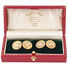Cufflinks 18 Karat Gold and Platinum Polo Players on Horseback French circa 1900