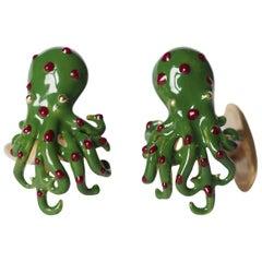 Cufflinks 18 Karat Gold Enamel Octopus Shape