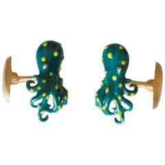 Cufflinks 18 Karat Gold Enamel SS Octopus