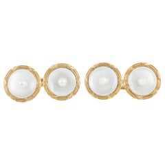 Cufflinks, 18 Karat Gold, Natural Pearl, Mother-of-Pearl, French, circa 1900