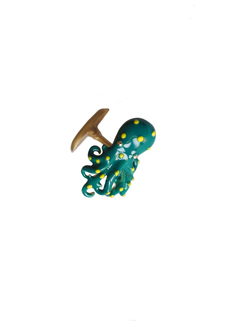 Cufflinks  18 kt Gold  gr. 16,80 Enamel  in 2 different color  SS Octopus. Measures 2cm long 1 cm large. All Giulia Colussi jewelry is new and has never been previously owned or worn. Each item will arrive at your door beautifully gift wrapped in