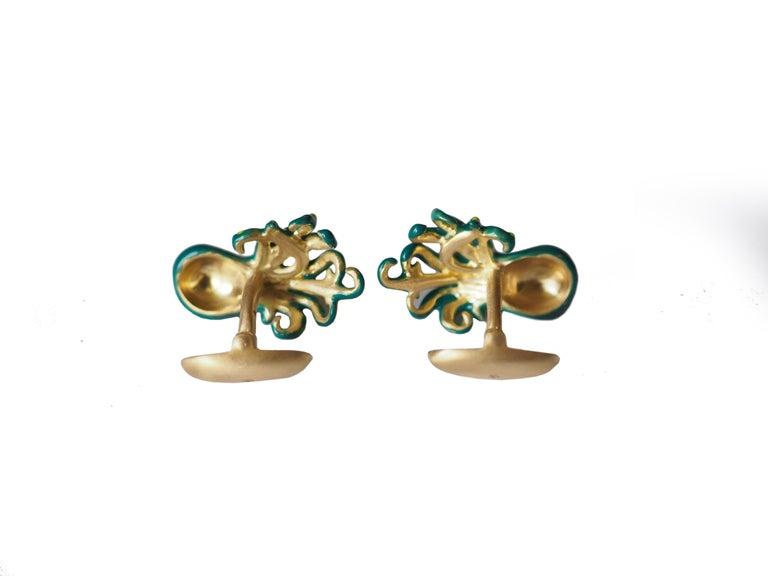 Artisan Cufflinks 18 Karat Gold Enamel SS Octopus For Sale