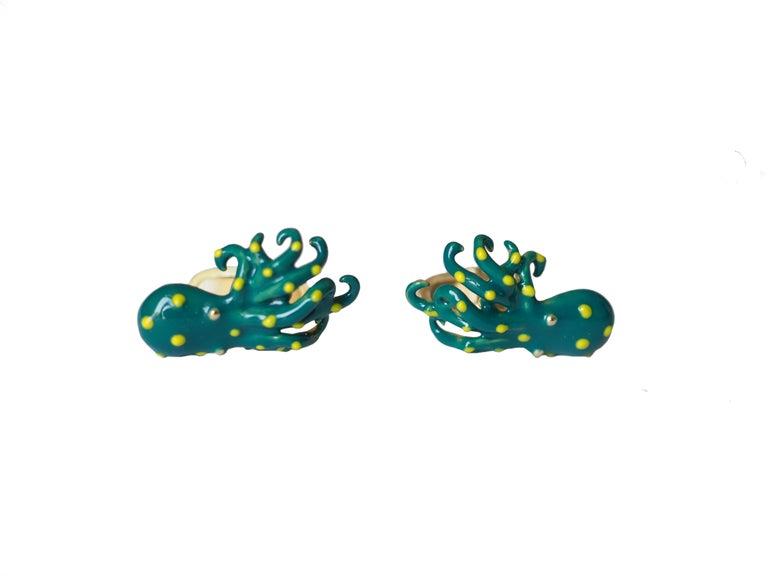 Cufflinks 18 Karat Gold Enamel SS Octopus In New Condition For Sale In Milan, IT