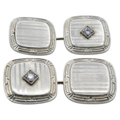 Cufflinks 1920s Diamond 14 Karat Gold Square Rounded