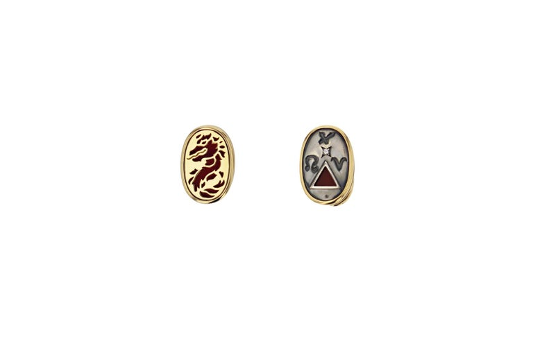 Neoclassical Cufflinks 4 Elements Fire by Elie Top For Sale