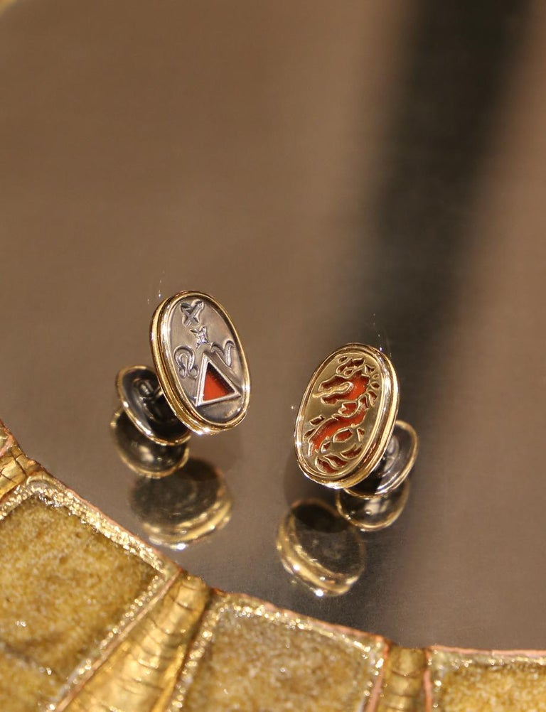 Cufflinks 4 Elements Fire by Elie Top In New Condition For Sale In Paris, France