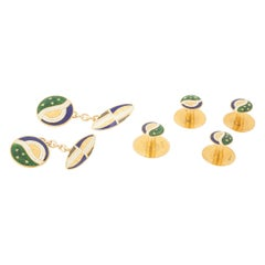 Cufflinks and Four Buttons in Colored Enamel, and 14 Karat Gold, circa 1910