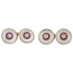 Cufflinks and Studs Gold, Mother of Pearl, Rubies, Diamonds, English, circa 1910